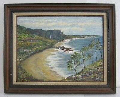 Weltha Pearson (1917-2009) Signed VTG Hawaii Seascape Oil Painting Framed 24x30