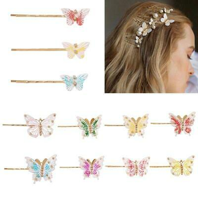 Antique Wavy Bobby Pin Alloy Women Colorful Metal Butterfly Rhinestone Hair Clip