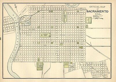 Vintage City Street Map: Official Map Of Sacramento, Cal. 1897