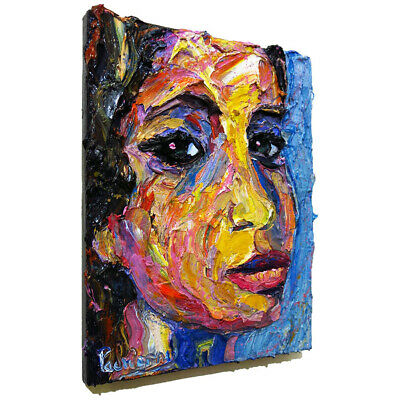 Surrealist Female Portrait Pop Art Signed Realist Oil Painting Abstract Outsider