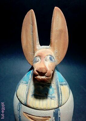 Egyptian Antiques Canops Anubis Figurine  Heroghliphics & Isis VERY STUNNING