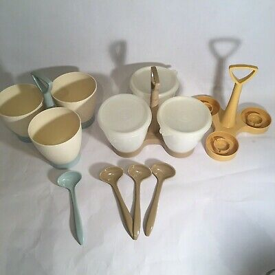 Almond/Sheer TUPPERWARE Condiment Caddy With Spoons & Lids PLUS 2 More Caddies