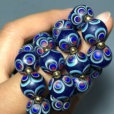 Chinese Collectible Blue Coloured Glaze Handwork Round Peacock Beads Bracelet H1