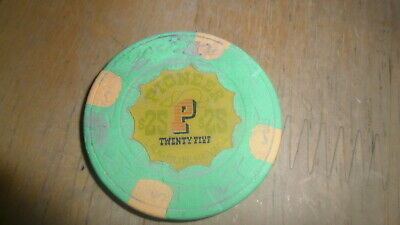 Vintage Pioneer Gambling Hall - $25 Chip Laughlin Nevada  Yellow Background