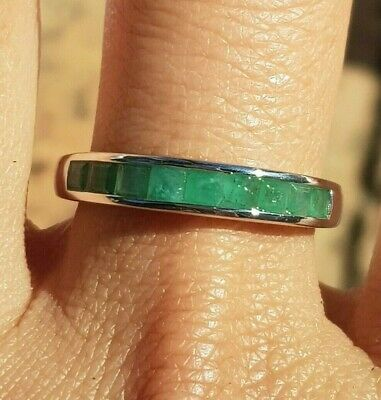 Genuine Natural 0.85ct Emerald Wedding Band Eternity Solid 9K White Gold Ring
