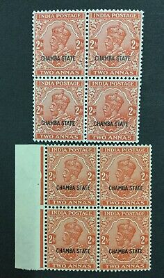 Momen: India Chamba Sg #78-79 2 Types Blocks Mint Og Nh Lot #193898-2328