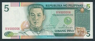 "Philippines: 1992 5 Piso RARE LOW SERIAL NUMBER ""XV 000006"". Pick 168e"