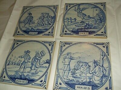 Antique Delft Blue & White Tiles (4) religious scenes  angels w/soldiers/huts