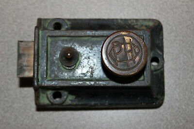Antique PHO Iron Door Lock Brass Bolt Handle Knob Old Bathroom WC Bolt Vintage