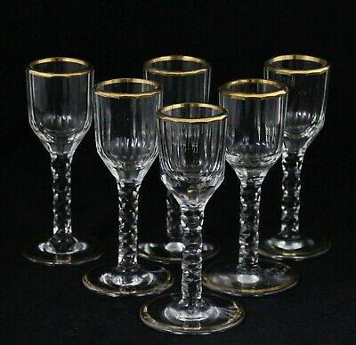 6x antique 18th C crystal Wine Glass, ca. 1770, gilt rim and base & faceted cut