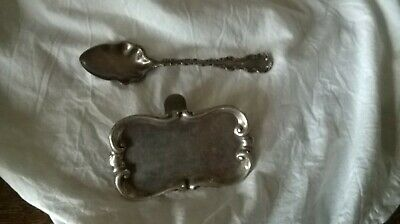unusual  silver plated walker and hall sprung miniature tray & decorative spoon