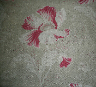 Vintage Retro French LG Poppy Foliage Floral Cotton Fabric~Wine Red Olive Green