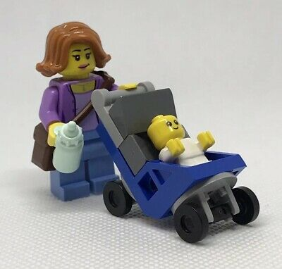 NEW GENUINE LEGO Mom and Baby with Blue Stroller Minifigure Mother Mini Figure