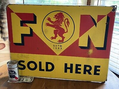 Rare Old Vintage 1930's F&N Orange Crush Soda Pop Enamel Metal Sign Oil, Gas