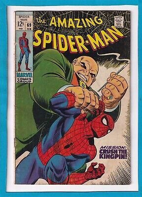 """Amazing Spider-Man #69_February 1969_Vg/F_""""Crush The Kingpin""""_Silver Age Marvel!"""