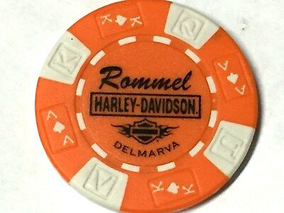 Harley Poker Chip    ROMMEL HD DELMARVA   SEAFORD, DE  ORANGE & WHITE  new dlr