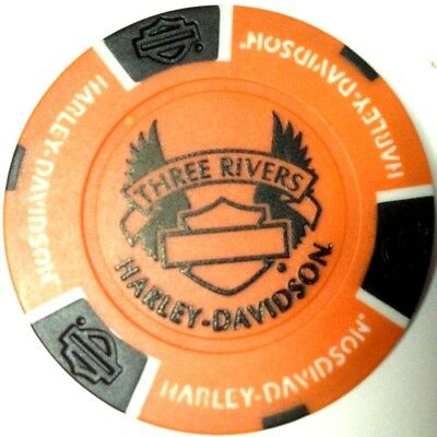 Harley Poker Chip   THREE RIVERS HD   PITTSBURGH, PA     ORANGE BACKGROUND