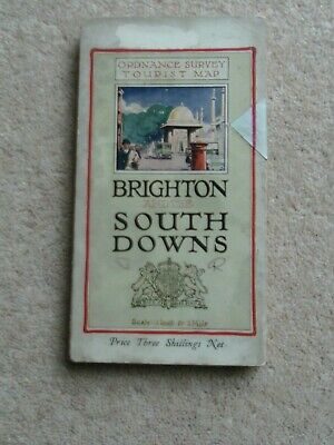Vintage Ordnance Survey TOURIST MAP OF BRIGHTON AND THE SOUTH DOWNS