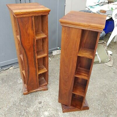 Pair of Vintage Rosewood Revolving Bookcase book shelves storage