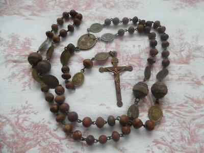 Beautiful Large Antique French Wooden Nuns Rosary