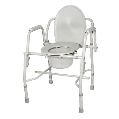 Drive Medical 11125KD-1 Steel Drop Arm Bedside Commode w/ Padded Arms