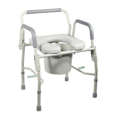 Drive 11125PSKD-1 Steel Drop Arm Bedside Commode w/ Padded Seat & Arms