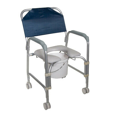 Drive 11114KD-1 Lightweight Portable Shower Commode Chair w/ Casters