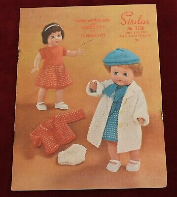 Vintage Sirdar No 7750 Doll's Outfit knitting pattern
