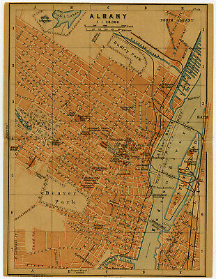 Antique Map-NEW YORK-ALBANY-BEAVER PARK-USA-Karl Baedeker-Wagner & Debes-1904