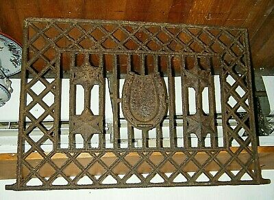 Vtg Cast Iron Fire Place Fence Panel Railing Horseshoe Architectural Salvage