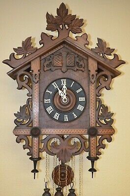 ANTIQUE GERMAN BLACK FOREST G.K.QUAIL TRAIN STYLE CUCKOO CLOCK early 1900's