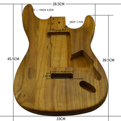 For ST Style Guitar Unfinished DIY Electric Guitar Barrel Body Polish Maple Wood