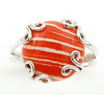 Wonderful Art Orange Opal 925 Solid Sterling Silver Ring Jewelry Sz 9, C27-4