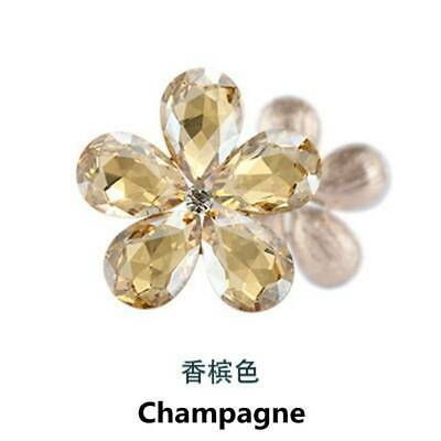 2pcs Crystal Rhinestones Metal Beads Flowers Embellishments Sewing Champagne DIY