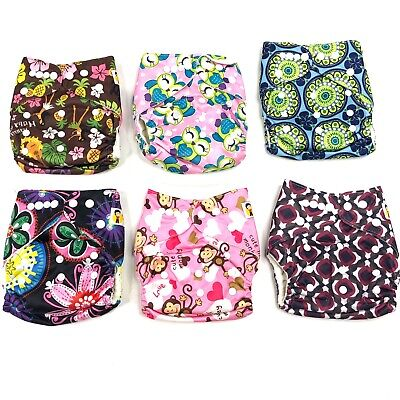 Cloth Diaper Lot Mommy Knows Best 6 AIO Reusable Diapers Bamboo Liners