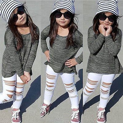 Toddler Kids Baby Girl Outfits Clothes T-shirt Tops Long Pants 2PCS Suit  J-168