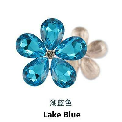 2pcs Crystal Rhinestones Metal Beads Flowers Embellishments Patches Lake Blue