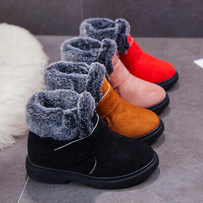 Uk Kids Boys Girls Winter Boots Fur Lined Warm Shoes Comfy Slip On Bootie Size