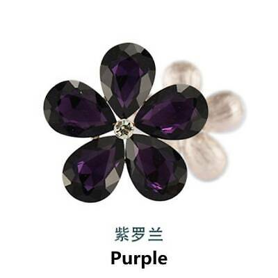 2pcs Crystal Rhinestones Metal Beads Flowers Embellishments Patches Violet DIY