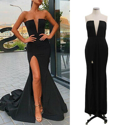 Women Strapless Slim Fit Evening Cocktail Party Prom Split Sleeveless Maxi Dress