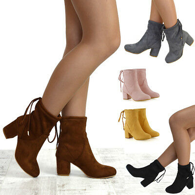 Ladies Women High Block Heel Chelsea Stretch Fitted Ankle Boots Fashion Shoe 3-9