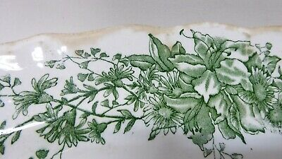 H&K Tunstall Pottery China Antique Victorian Green Floral Plate Serving Platter