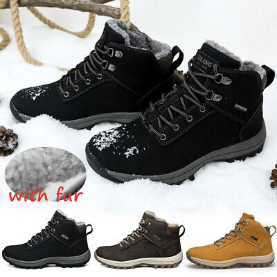 Men's Sports Shoes Waterproof Winter Warm Snow Boots Outdoor Hiking Trainers UK