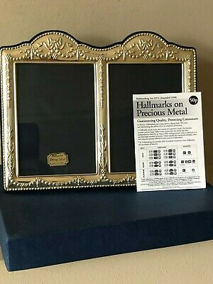 """New In Box Beautiful  Large 8.5"""" Double Photo Hallmarked Silver Photo Frame"""