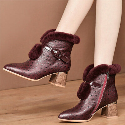 Women's Cow Leather Chunky Heels Snow Boots Pointed Toe Rabbit Fur Winter Pumps
