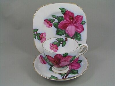 Tuscan Red Hibiscus Trio, Tea Cup And Saucer & Side Plate.
