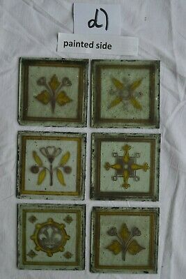 6 Victorian handpainted antique kiln fired stained glass window pieces. S930d