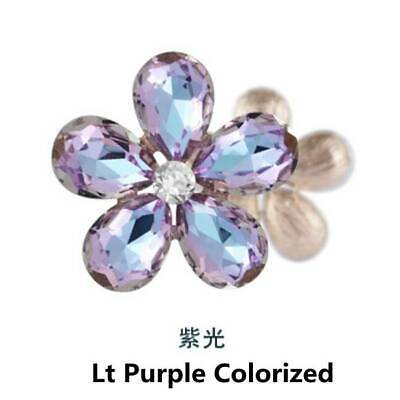 2pcs 30mm Rhinestone Metal Beads Flower Embellishments Sew on Purple Colorized