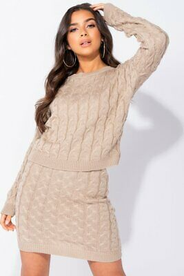 Beige Cable Knit Cropped Jumper & Mini Skirt Co Ord Set