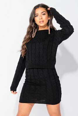 Black Cable Knit Cropped Jumper & Mini Skirt Co Ord Set